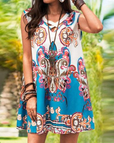 Women Floral Print V-neck Mini Dress
