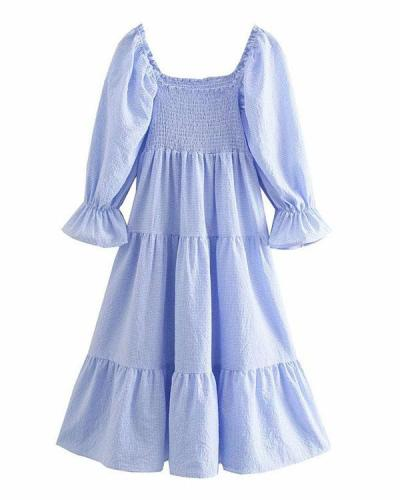 Cottagecore Puffy Sleeve Bowknot High Waist Solid Nap Dress