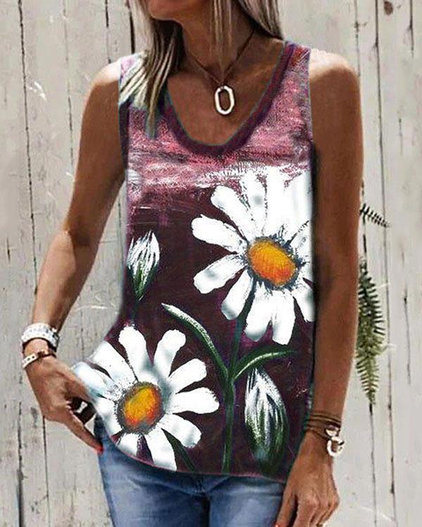 Chrysanthemum Print Round Neck Sleeveless T-shirt Summer Casual Loose Tank Top