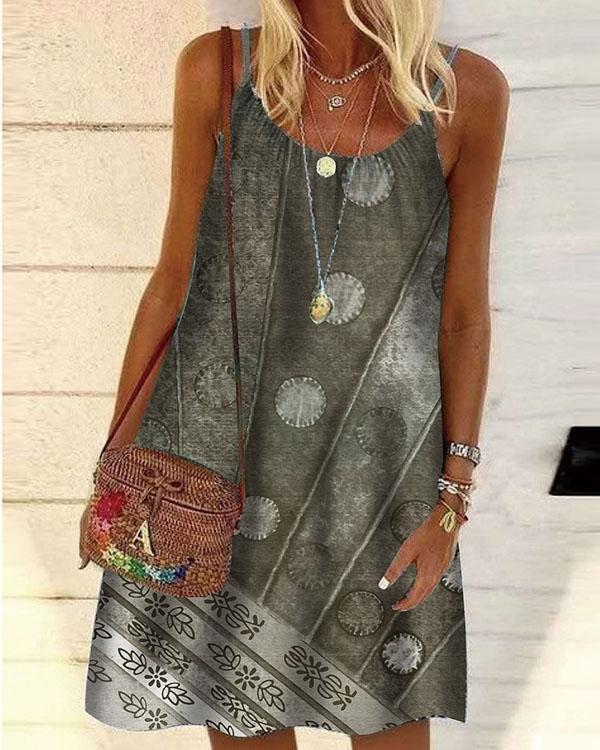 Casual Print Tunic Camisole Neckline A-line Dress