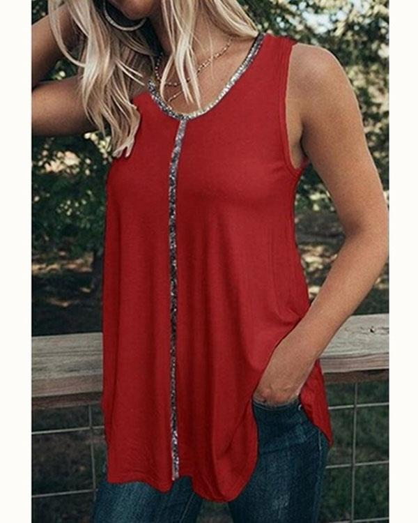Women's Plus Size Sequined T Shirt Vest Casual Sexy V-Neck Tank Tops