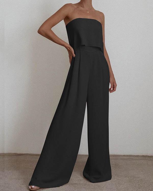 Stylish Elegant Solid Color Bandeau Vest&pants 2-piece Suit