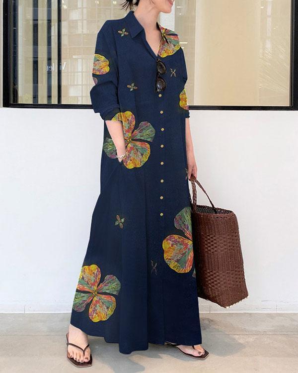 Women Linen Print Loose Maxi Dresses