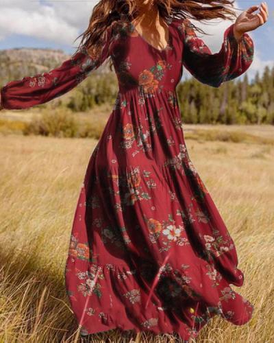 Boho Puff Sleeves Women Maxi Dress