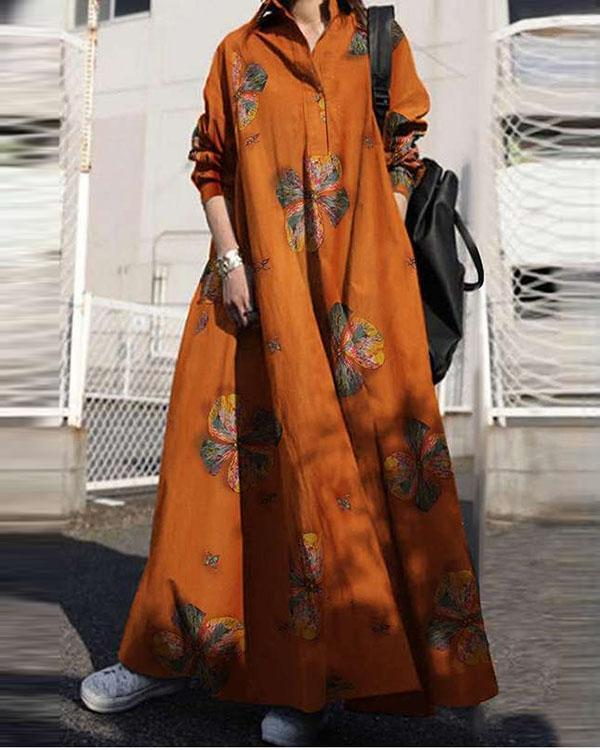 Vacation Bohemia Print Loose Maxi Dresses