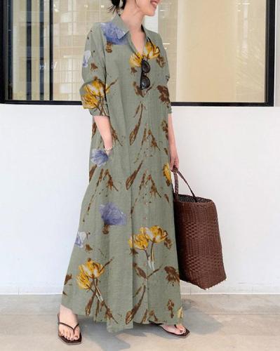 Women Floral Print Loose Linen Maxi Dresses