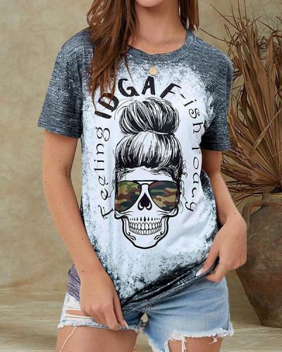 Casual Skull Print Crew Neck Fashion T-Shirt