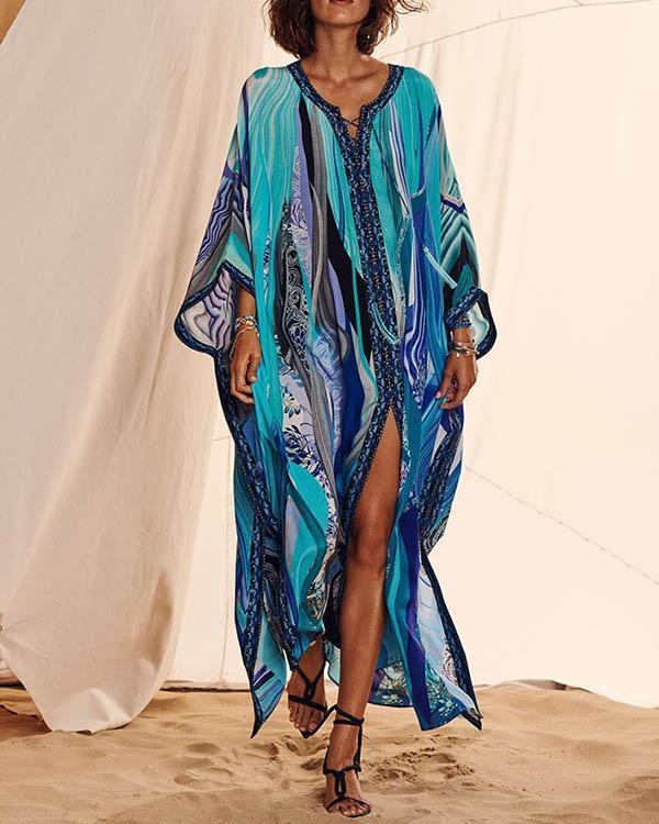Bohemian Sexy Print Bikini Cover Up Women Beach Maxi Dress