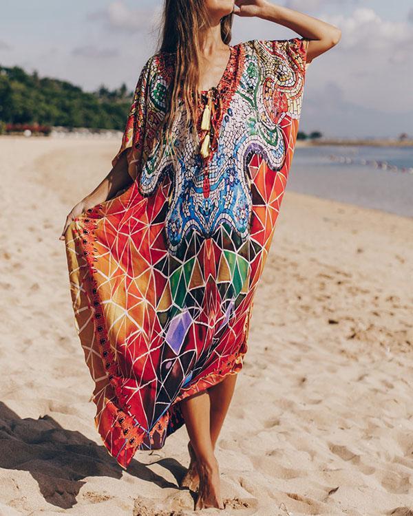 Bohemian Colorful Print Bikini Cover Up Vacation Dress