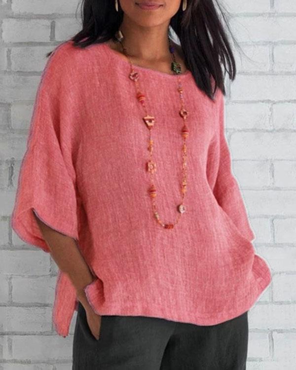 Women's Casual Summer Linen Shirts Tops