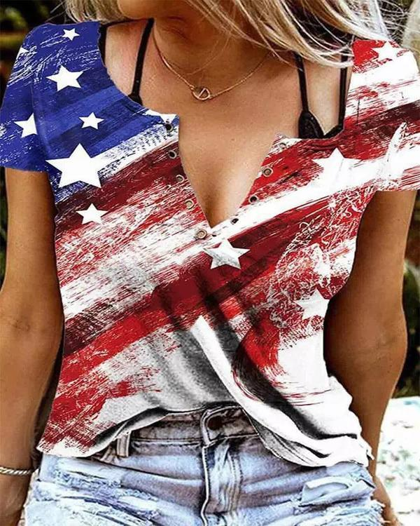 American Flag Star Blouse without Black Camisole