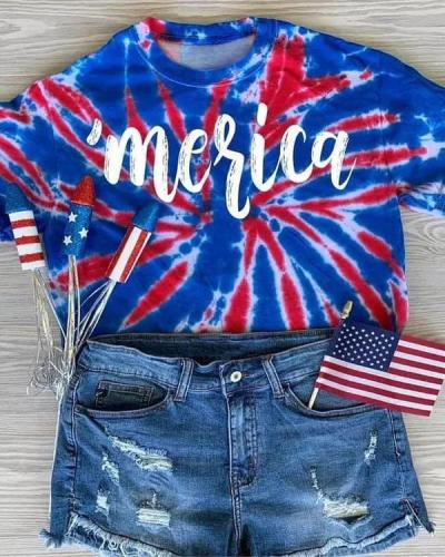 Tie Dye Merica 4th of july T-Shirt Tee