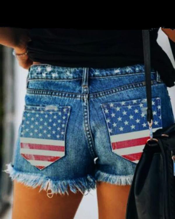 Women's Flag Printed Pocket Shorts