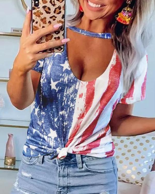 American Flag Star Hollow Out Blouse
