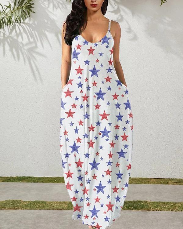 Red Blue & White Stars Maxi Dress