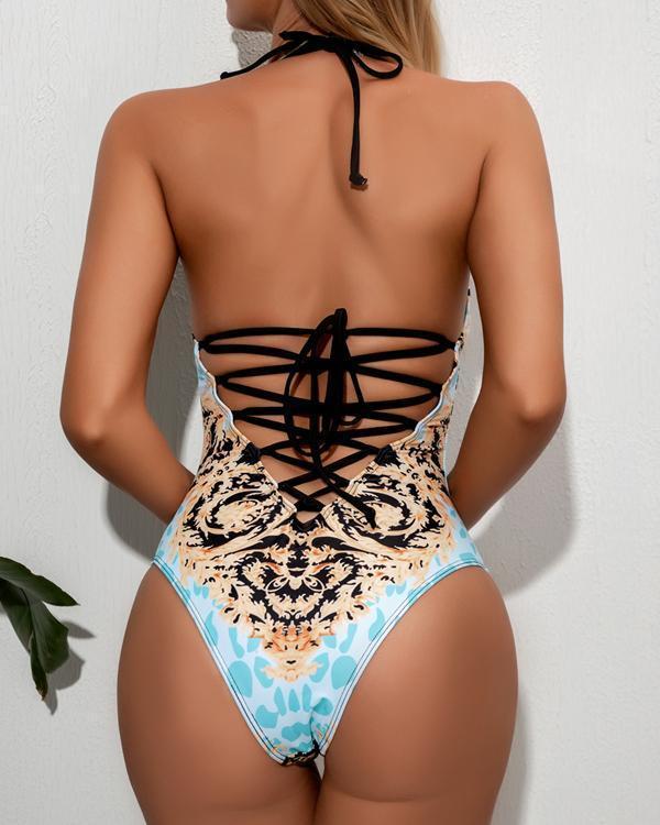 Sexy Printed One-Piece Bikini Swimsuit