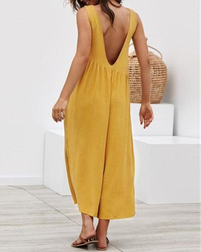 Casual Solid Irregular Pleated Crew Neck Pockets Jumpsuit