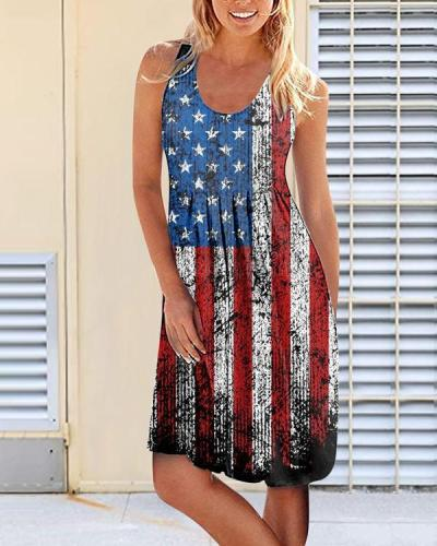 American Flag Star Sleeveless Dress