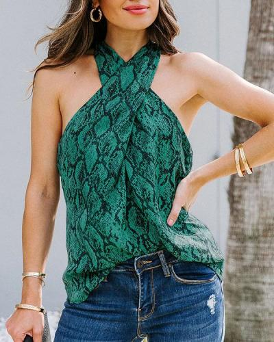 Multicolor Snake-Print Women's Sexy Halter Neck Vest Tops