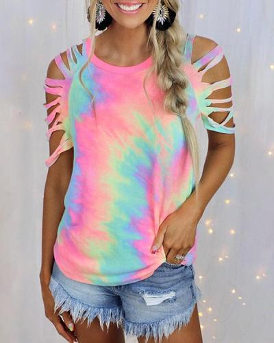 Tie Dye Hollow Out Sleeve Cold Shoulder Short Sleeve Shirt&Top