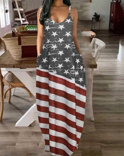 Women's American Flag Star Maxi Dress