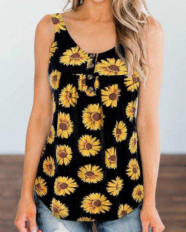 Plus Size Round Neck Button Decor Sunflower Print Tank Tops