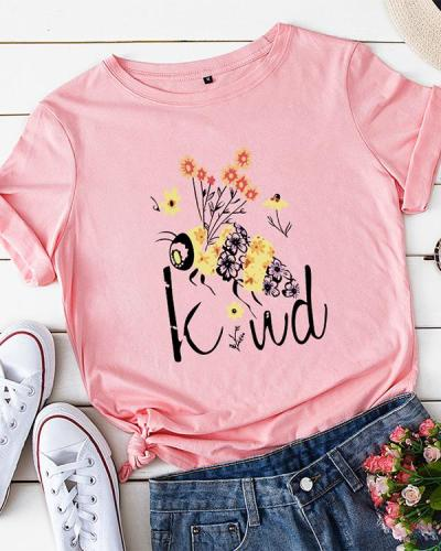 Womens Plus Size Be Kind Bee O-Neck Tops Tees