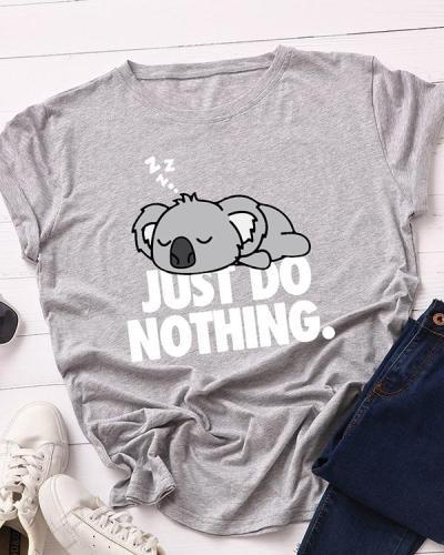 Womens Plus Size Koala Letter Print T-shirt