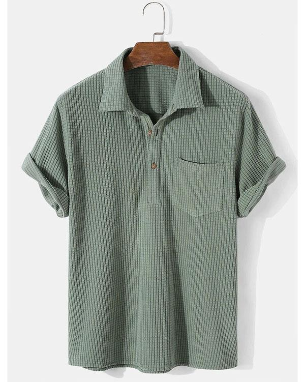 Mens Solid Color Waffle Casual Lapel Short Sleeve Henley Shirt