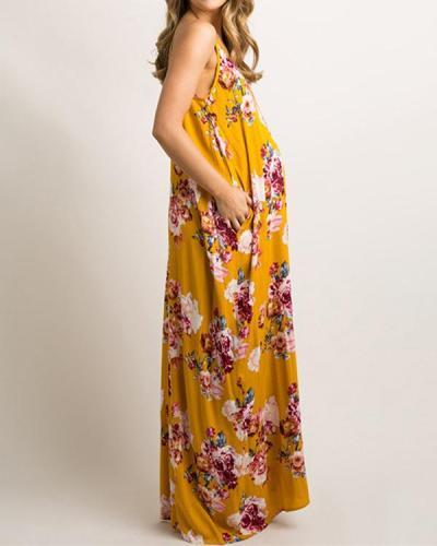 Women Maternity Loose Fit Multiflora V-Neck Maxi Dress