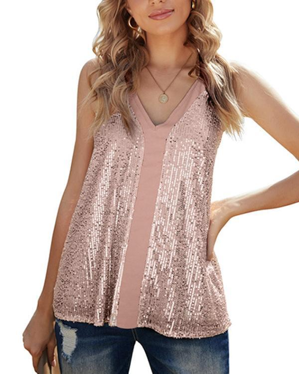 Wear Loose Sequined Camisole Tops Inside And Outside In Summer