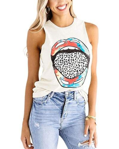 Color Lips Leopard Print Tongue Round Neck Sleeveless T-shirt Women