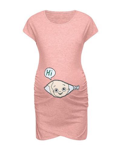 Cartoon Letter Print Pregnant woman Dress Women sleeveless Pregnancy Maternity Dress