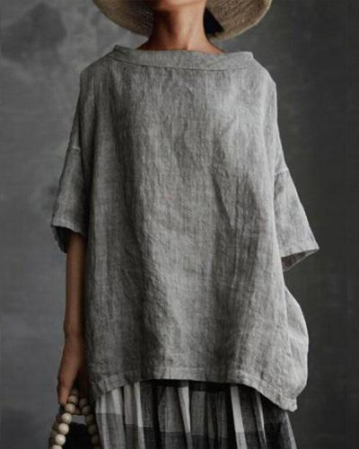 Women Boat Neck Half Sleeve Solid Loose Plus Size Casual Linen Tops