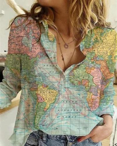 Creative World Globe Map All Over Print T-shirt | Perfect Gift | Adults and Teenagers Unisex T shirt
