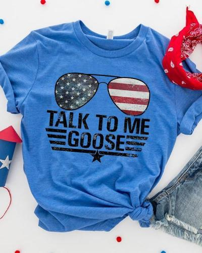 Talk To me Goose America Flag 4th of July T-shirt Tee