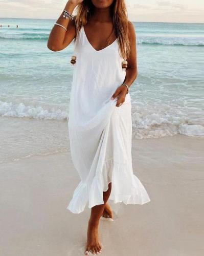 Summer Casual V-neck Beach Dresses