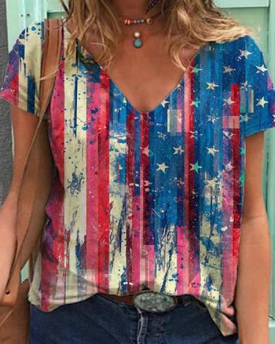 American Flag Printed Short Sleeve V-neck T-shirt