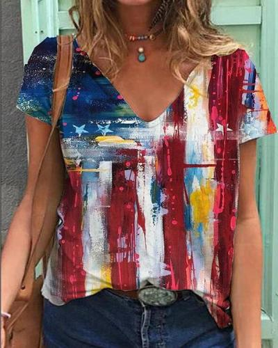 American Flag Printed Casual V-neck T-shirt
