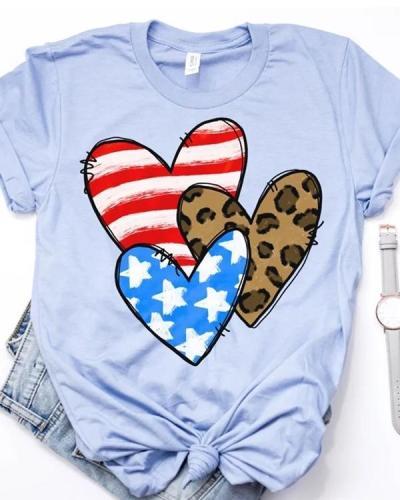 Blue Casual Love Tees T-shirt