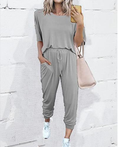 Loose Solid Color Short-sleeved Casual Suit