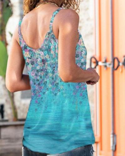 Ombre Multiflora Plus Size Spaghetti Strap Sexy Vest
