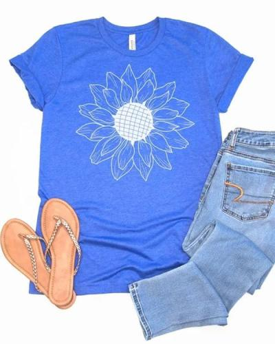 Casual Sunflower Tees T-shirt