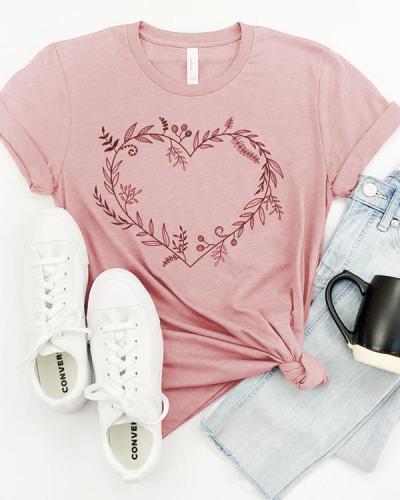 Casual Boho Flowers Tees T-shirt