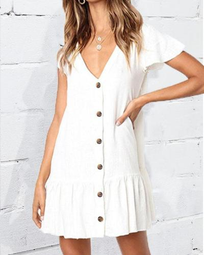 V-neck Single-breasted Pleated Loose Skirt