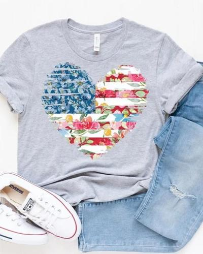 Casual 4th Of July Love Tees Cute T-shirt