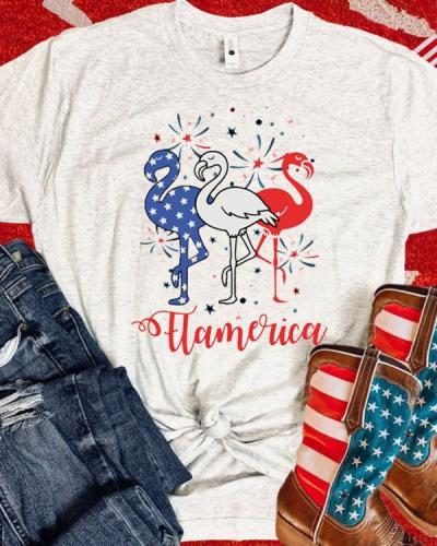 Flamerica 4th of July Funny Flamingo T-shirt
