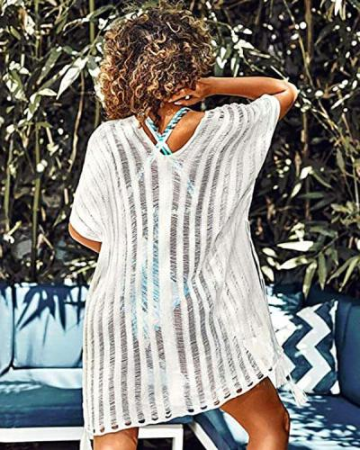 Ladies Beachwear Bikini Swimsuit Coveralls Hollow Knitted Shawl