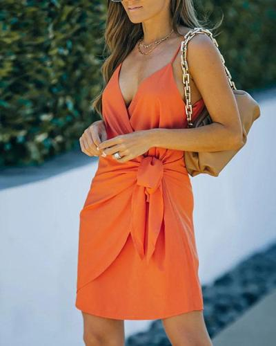 Daily Sexy Wrap Knotted Pure Color Mini Dress