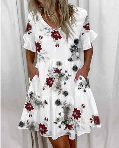 Women Print 1/2 Sleeves Shift Above Knee Casual Tunic Dresses